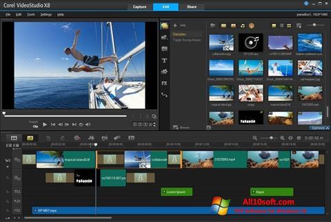 Ekrano kopija Corel VideoStudio Windows 10