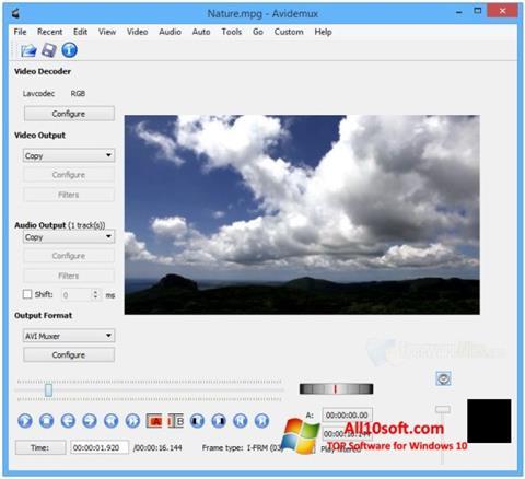 Ekrano kopija Avidemux Windows 10