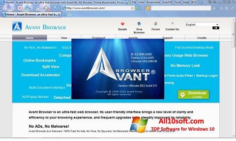 Ekrano kopija Avant Browser Windows 10