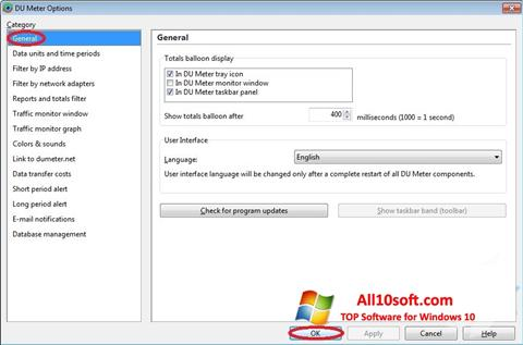 Ekrano kopija DU Meter Windows 10