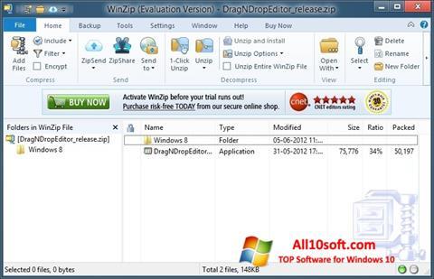 Ekrano kopija WinZip Windows 10