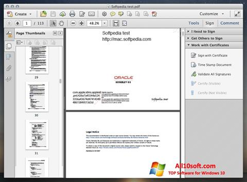 Ekrano kopija Adobe Acrobat Windows 10