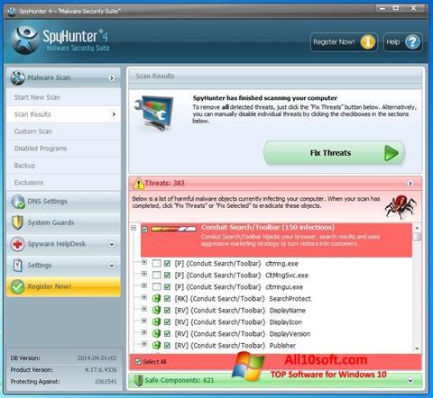 Ekrano kopija SpyHunter Windows 10
