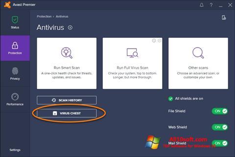 Ekrano kopija Avast Windows 10