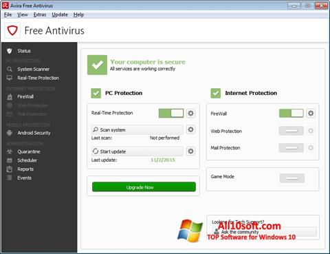Ekrano kopija Avira Free Antivirus Windows 10