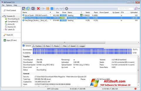 Ekrano kopija BitTorrent Windows 10