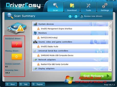 Ekrano kopija Driver Easy Windows 10