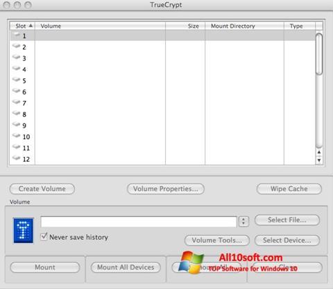 Ekrano kopija TrueCrypt Windows 10
