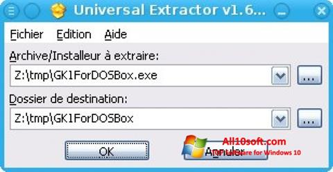 Ekrano kopija Universal Extractor Windows 10