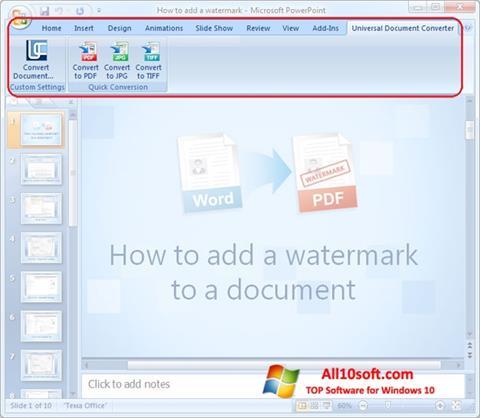 Ekrano kopija Microsoft PowerPoint Windows 10