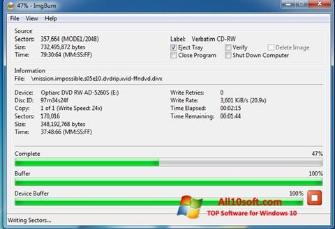 Ekrano kopija ImgBurn Windows 10