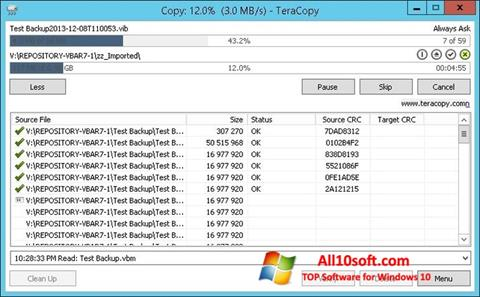 Ekrano kopija TeraCopy Windows 10