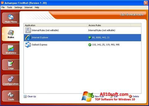Ekrano kopija Ashampoo Firewall Windows 10