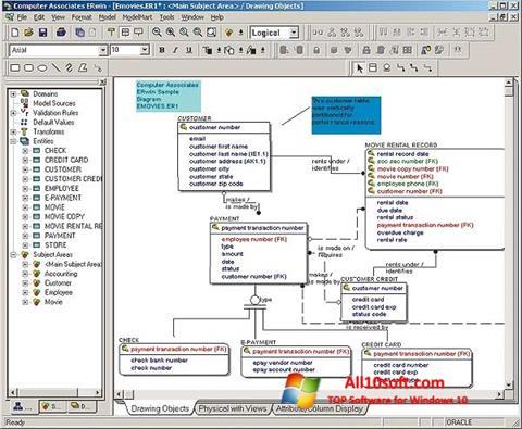 Ekrano kopija ERWin Windows 10