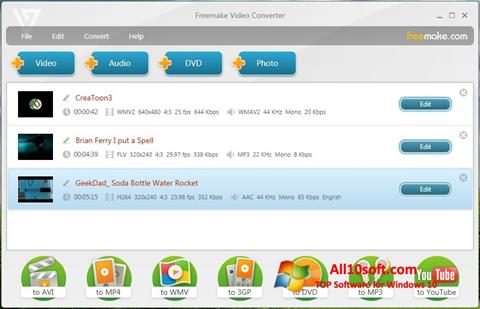 Ekrano kopija Freemake Video Converter Windows 10