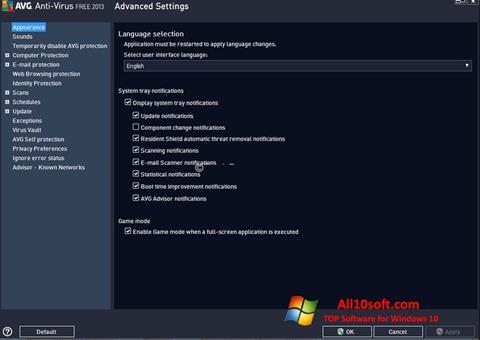 Ekrano kopija AVG Windows 10
