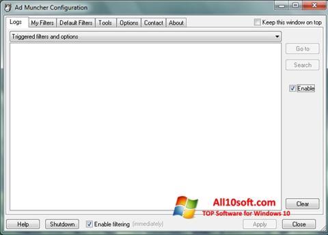 Ekrano kopija Ad Muncher Windows 10