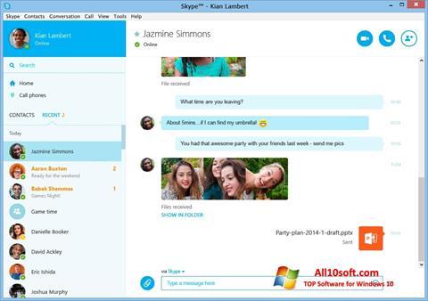 Ekrano kopija Skype Windows 10
