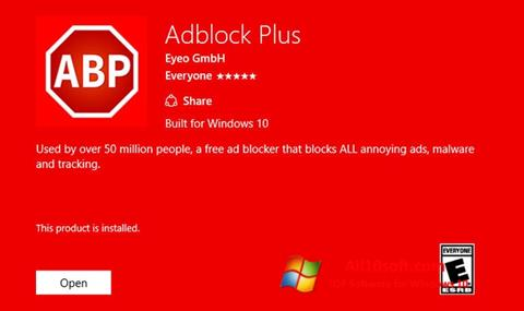 Ekrano kopija Adblock Plus Windows 10